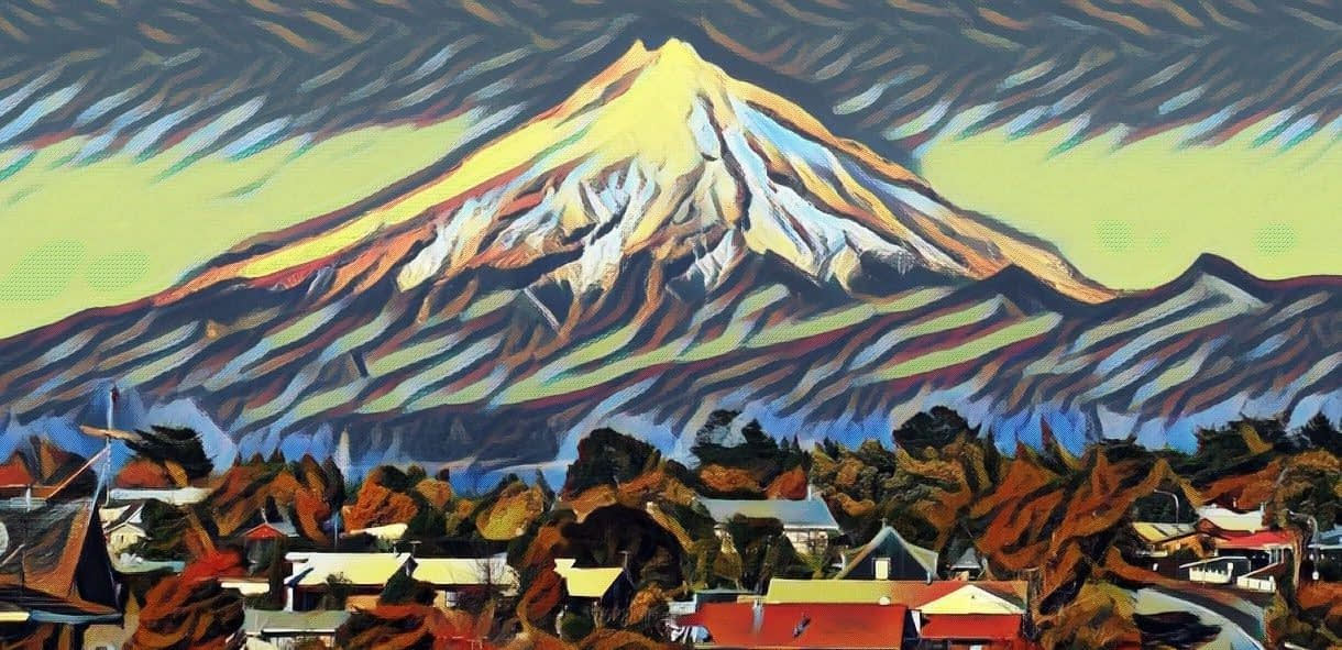 Artistic photo of Mt Taranaki taken from a residential area